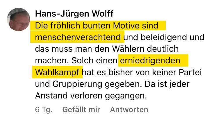 Zitat Hans-Jürgen Wolff auf Facebook