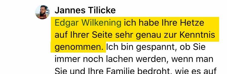 Zitat von Jannes Tilicke auf Facebook