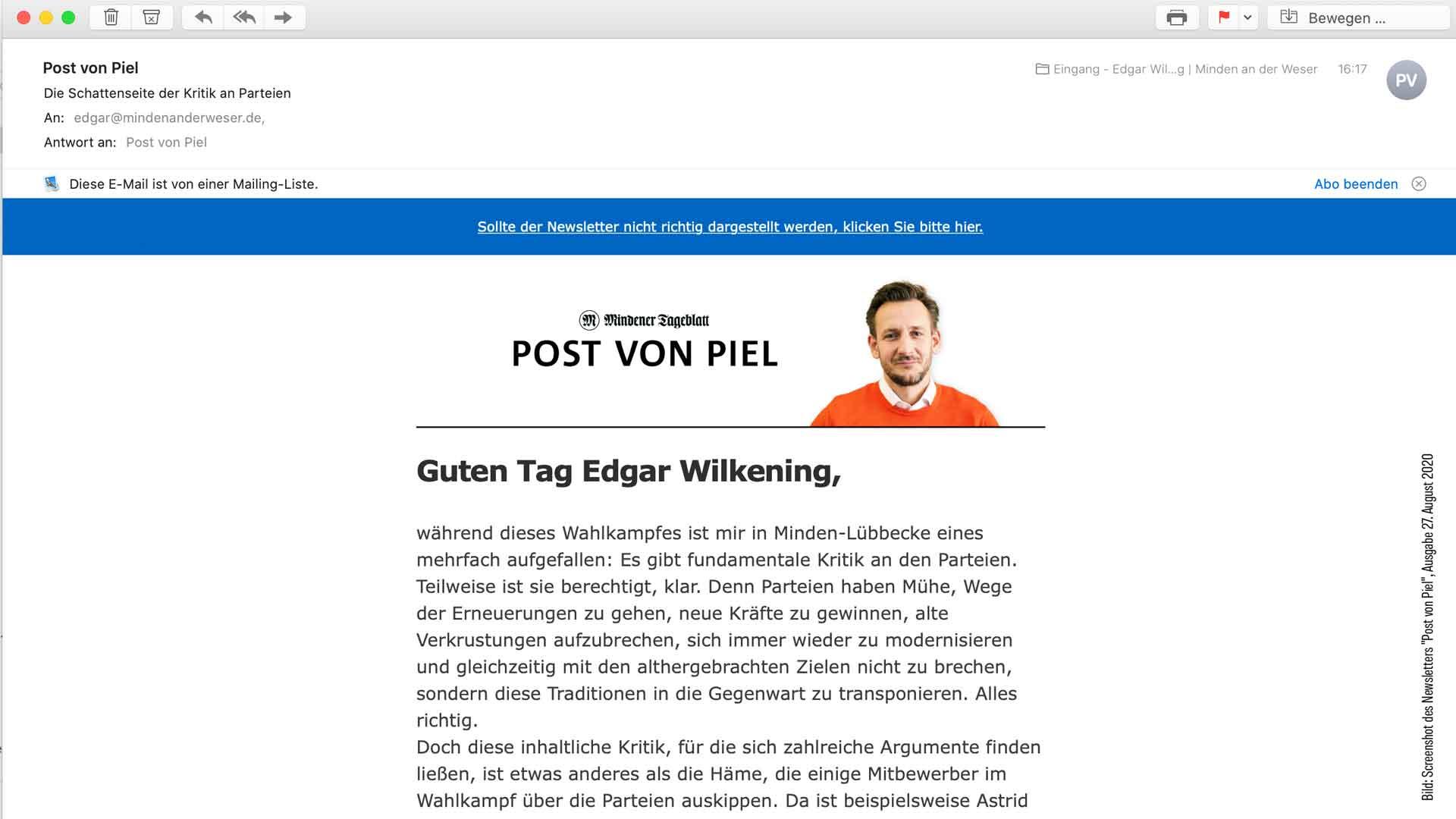 Post von Piel an Kandidatin Astrid Engel