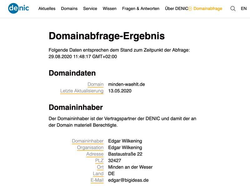 Screenshot Domainauskunft Denic