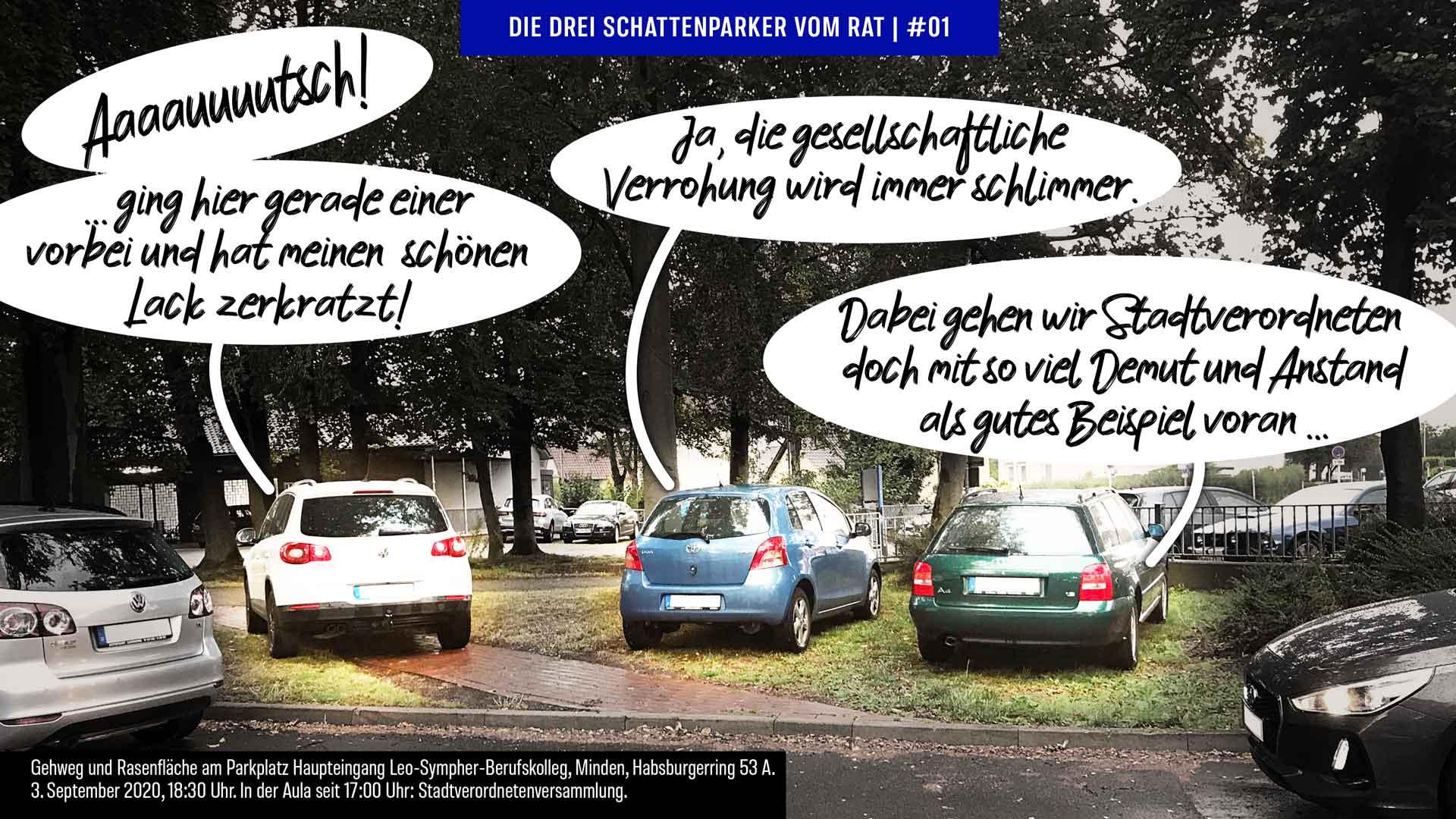 Foto-Cartoon: Mindens Stadtverordnete können nicht mal richtig parken #01