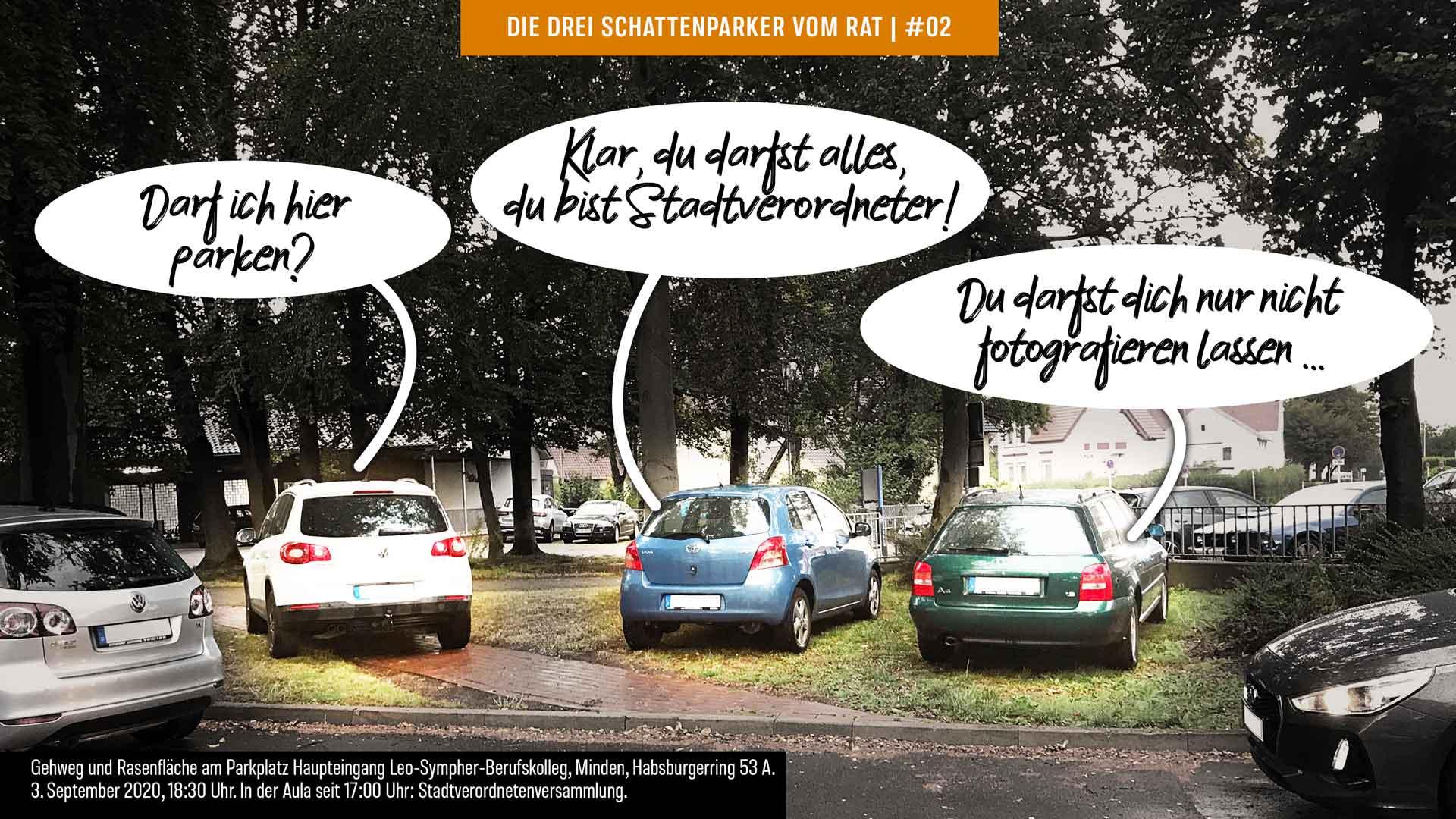 Foto-Cartoon: Mindens Stadtverordnete können nicht mal richtig parken #02