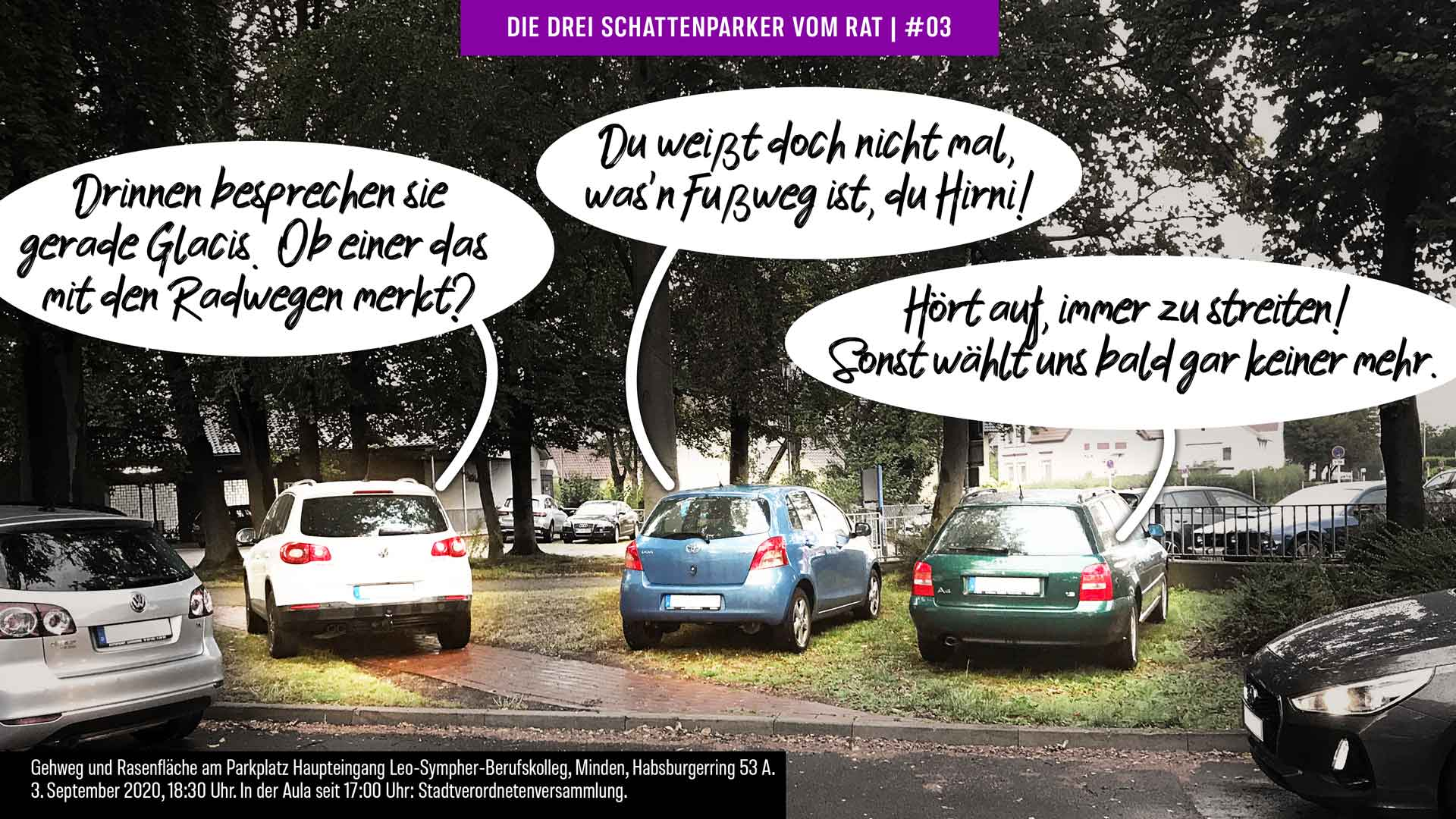 Foto-Cartoon: Mindens Stadtverordnete können nicht mal richtig parken #03