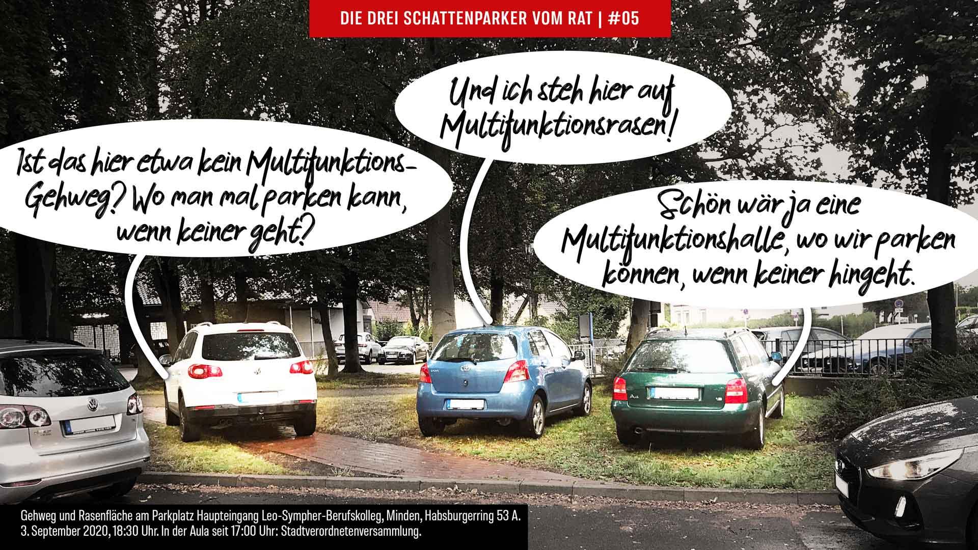 Die Drei Schattenparker vom Rat: Multifunktionshalle