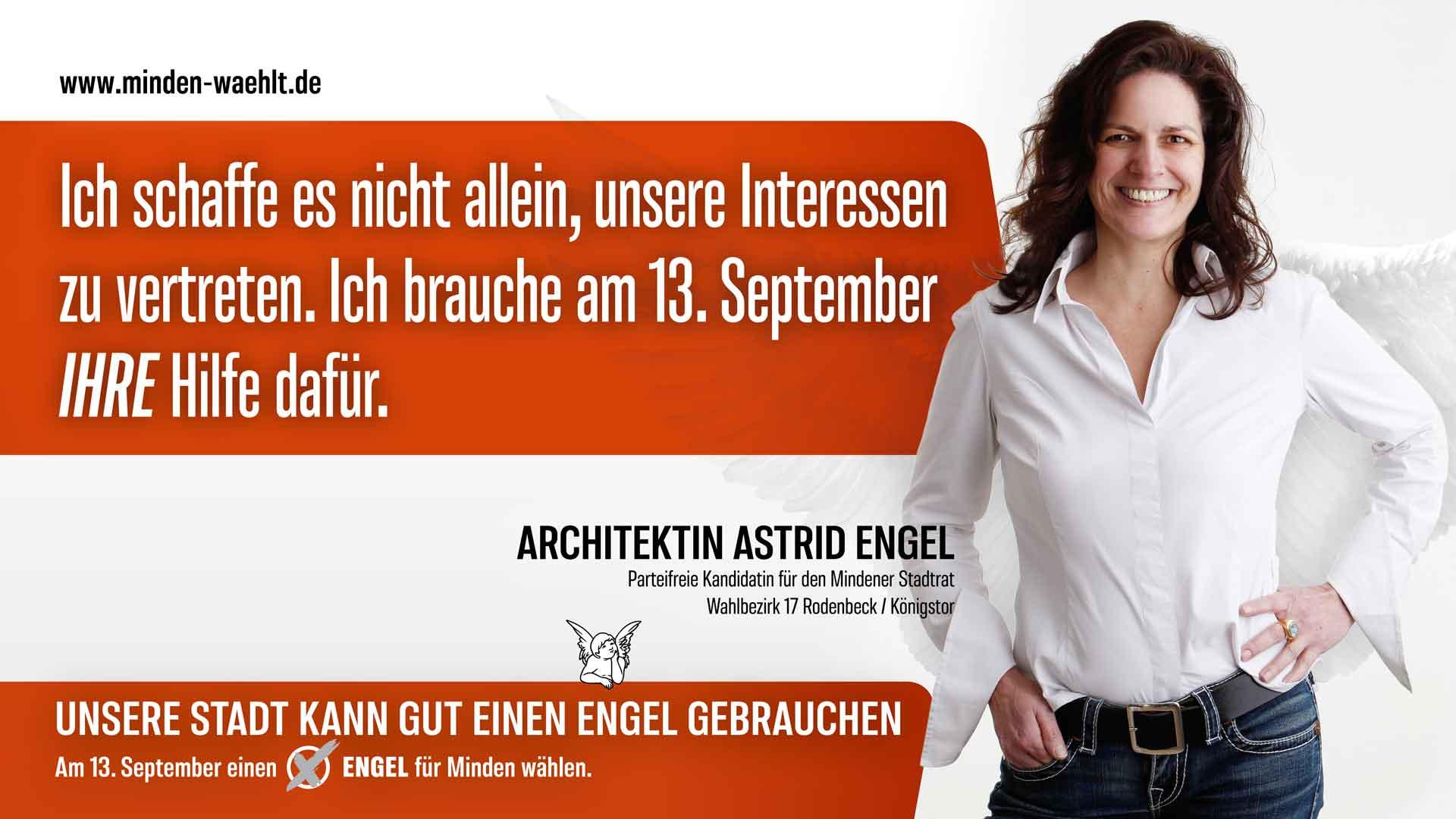 Wähler müssen mithelfen - mit ihrer Stimme für Astrid Engel
