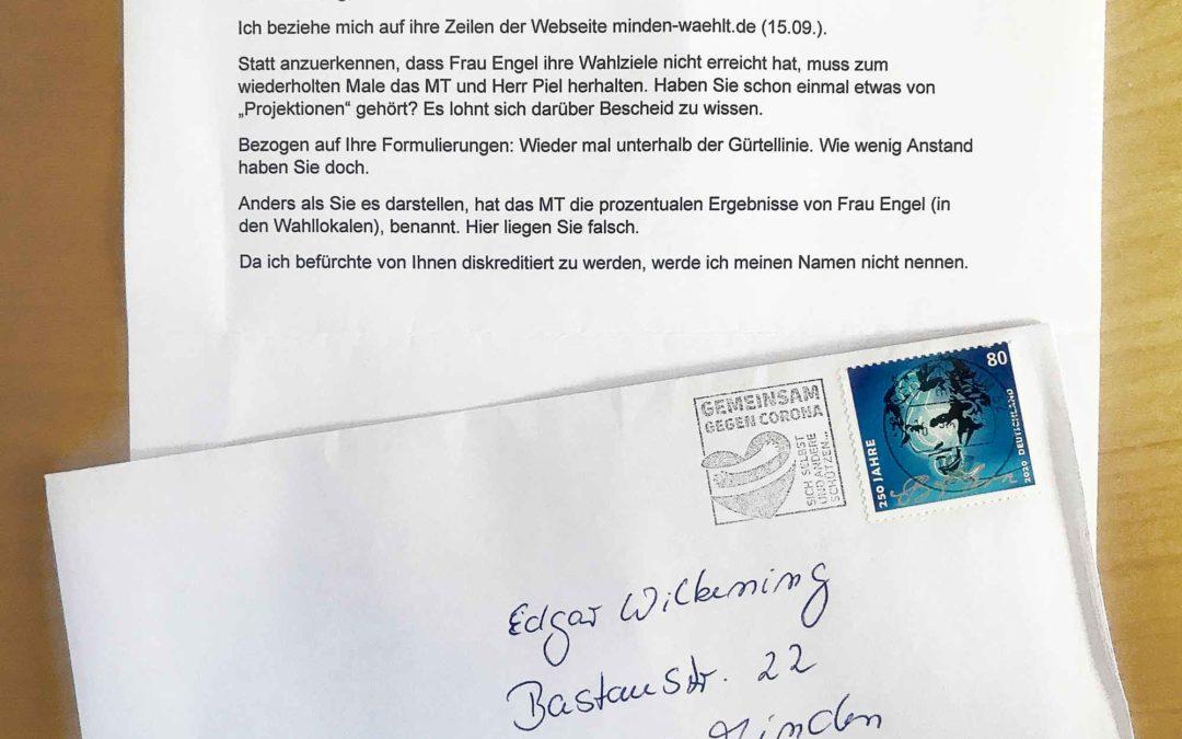 Anonymer Schmähbrief per Post – auch damit muss man in Minden jederzeit rechnen